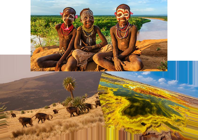 Паркът Симиен, вулканът Далол и местните племена са известни забележителности на Етиопия.